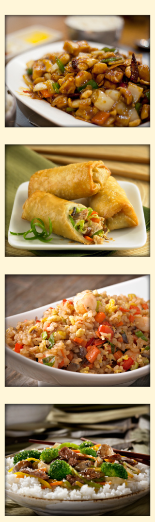 Kung Pao Chicken | Egg Rolls | Fried Rice | Beef with Vegetables & Rice